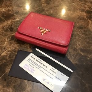 Prada saffiano leather trifold wallet